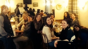 A group of TEFL students enjoying tapas and sangria in Barcelona.
