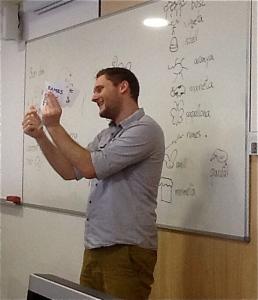 Darias in his teacher training teaching English to a class.