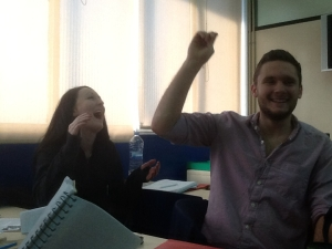 David and Jen: Happy moments in class!