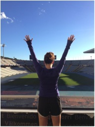 "Obligatory ""Rocky"" style photo at the Barcelona Olympic Stadium"