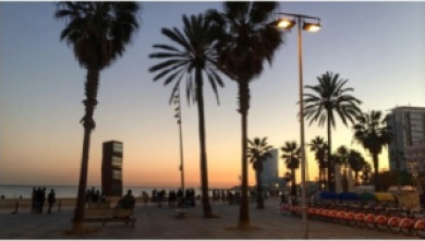 Cool, winter sunsets on Barceloneta beach are a must
