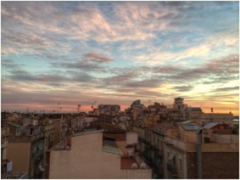 View from my rooftop in Barceloneta; the neighborhood I am living in