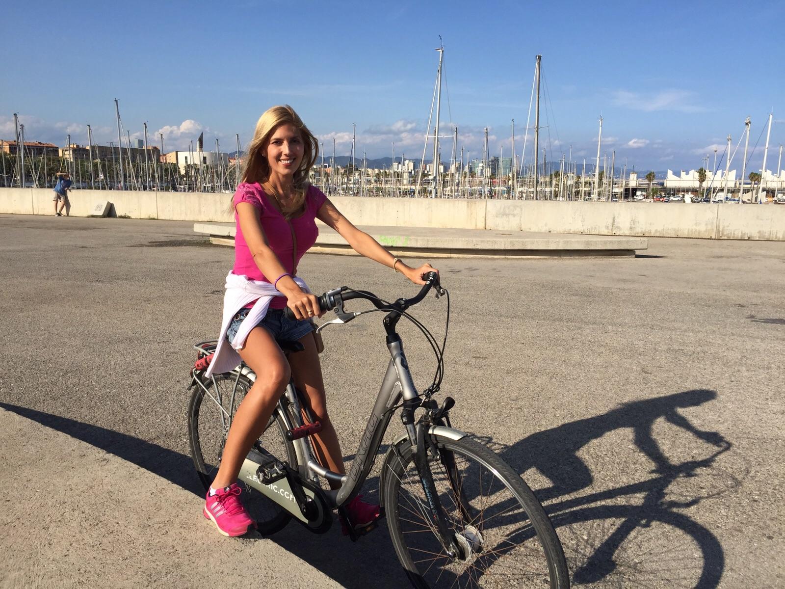 Time to relax biking down the beach