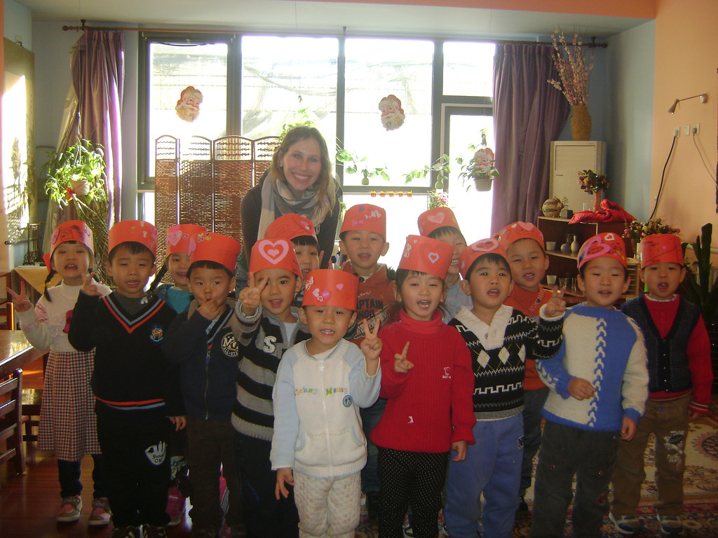 My kindergarten class in Beijing on Valentine's Day, teaching in China