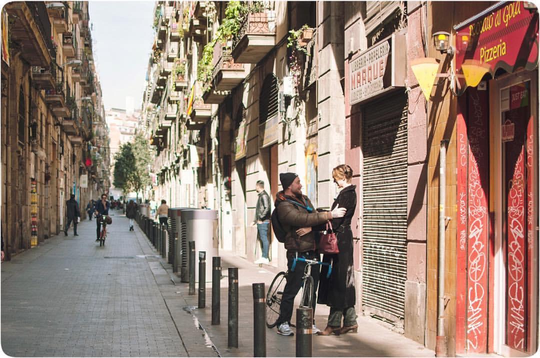 The narrow streets of Barcelona, Spain
