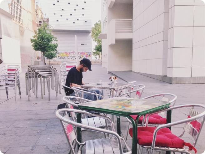 Life as an English teacher, drinking coffee and lesson planning outside MACBA in Barcelona, Spain